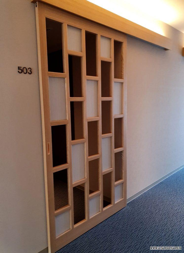 Mon avis sur l'hôtel UAN à Kanazawa, les portes coulissantes ajourées