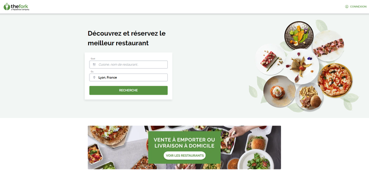Test de The Fork : la page d'accueil